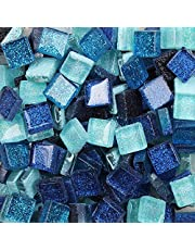 Mosaic Tiles Mixed Color Glass Tiles Shine Crystal Mosaic Glass Pieces Bulk Square Glitter Crystal Mosaic Tiles for Home Decoration or DIY Crafts 200g,1x1 cm
