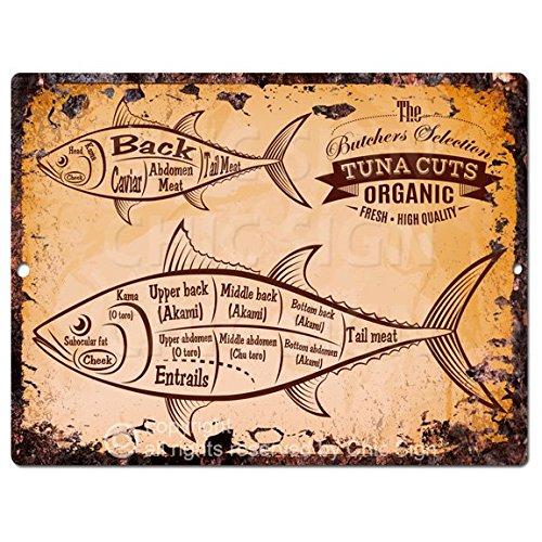 Fish Tuna Cuts Guide Chart Rustic Retro Vintage Kitchen Wall Decor 9