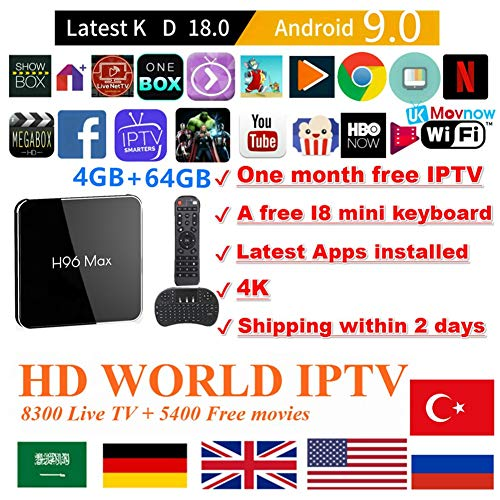 TTV Box Android 9.0 TV Box Smart TV Box 4GB 64GB H96 MAX X2 Support USB 3.0 BT 4.1 2.4G- 5G Dual-Band Wi-Fi 3D 4K Full HD H.265 100M Ethernet +1 Month IPTV Subscription+ Mini Wireless Keyboard Remote