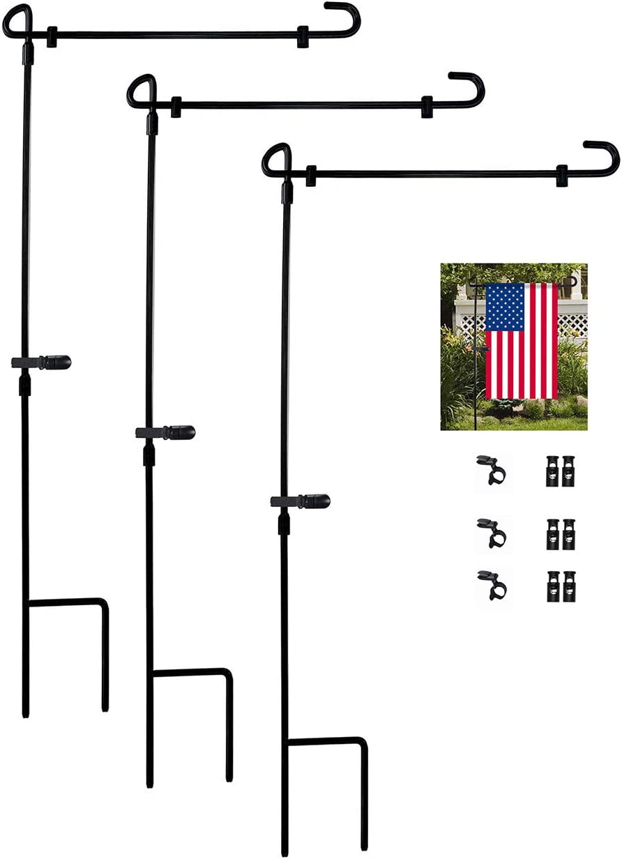 MIPON 3 Pack Garden Flag Stand Holder Stakes, Iron Weather Proof Paint with Flag Stoppers and Clip, Without Flag