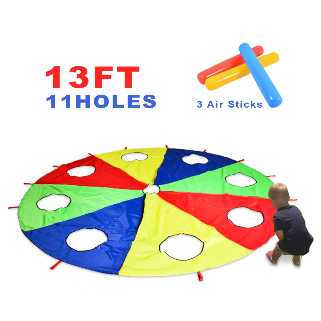 HAPPYMATY Rainbow Umbrella Parachute 13 Foot with 10 Handles for Kids,Play Parachute Outdoor Games(Whack a Mole) Activities Toys with 3 Air Sticks 4M/13FT by HAPPYMATY (Image #4)