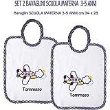 Coccole- Set due bavaglini grandi SCUOLA MATERNA 3-5 anni con nome personalizzato per scuola materna (Blu)