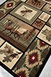 Cheap Rugs 4 Less Collection Rustic Western and Native American Wildlife and Wilderness Cabin Lodge Accent Area Rug – R4L 386 (5×7)