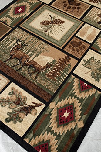 Rugs 4 Less Collection Rustic Western and Native American Wildlife and Wilderness Cabin Lodge Accent Area Rug - R4L 386 (5x7)