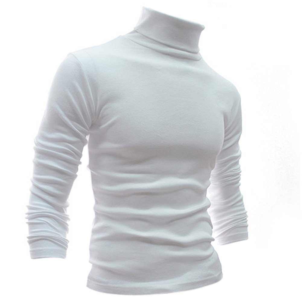 Gleader Mode Hommes Automne Hiver Col Roule Sweater-Shirt Motif solide Pull Blanc XXL 033253E4