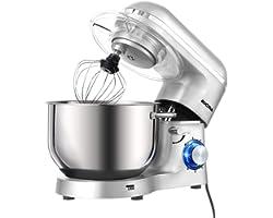 Aucma Stand Mixer,6.5-QT 660W 6-Speed Tilt-Head Food Mixer, Kitchen Electric Mixer with Dough Hook, Wire Whip & Beater (6.5QT