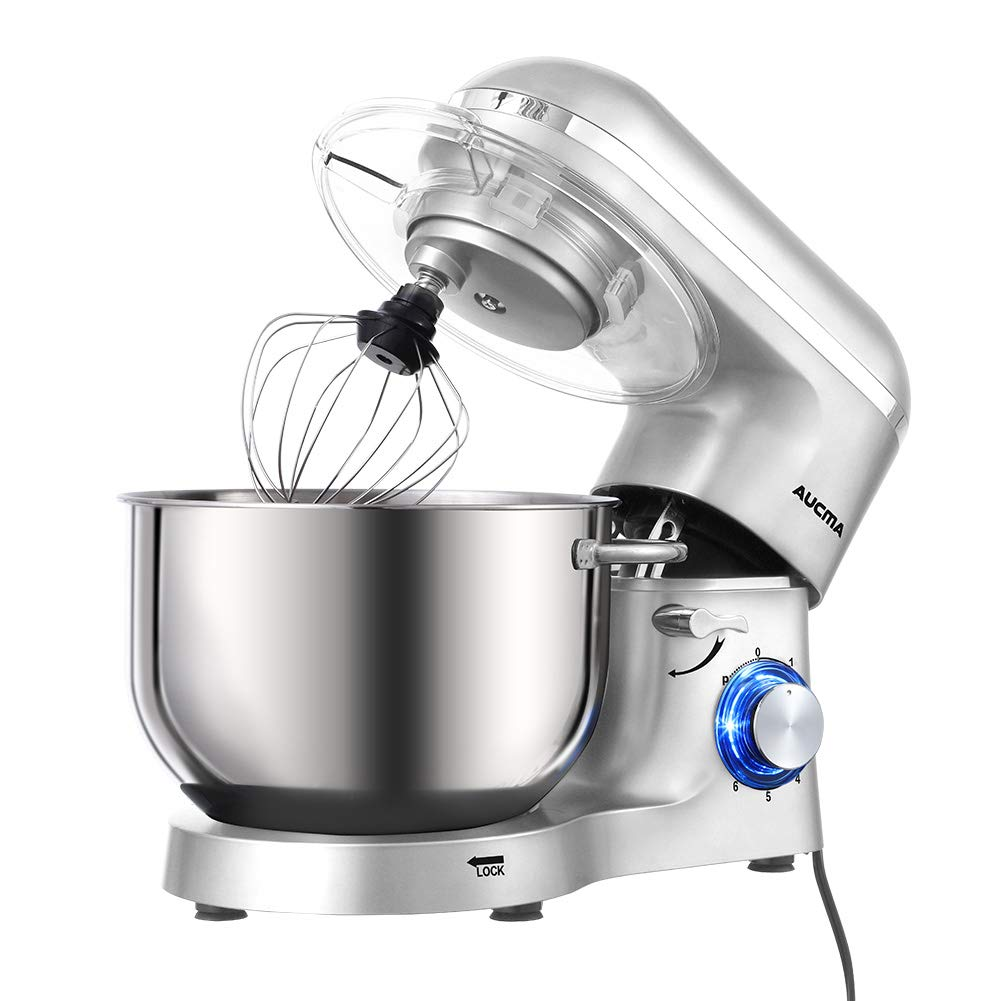 Aucma Stand Mixer,6.5-QT 660W 6-Speed Tilt-Head Food Mixer, Kitchen Electric Mixer with Dough Hook, Wire Whip Beater 6.5QT, Silver