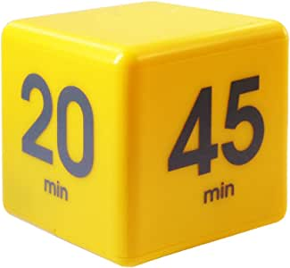 The Miracle TimeCube Timer, 5, 10, 20 and 45 Minutes, for Time Management, Kitchen Timer, Kids Timer, Workout Timer, Yellow