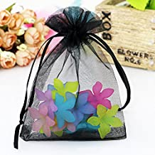 Ptulip Organza Bags 4 x 6 Inch Gift Bags Organza Drawstring Pouch Jewelry Party Wedding Favor Party Festival Gift Bags Candy Bags 100pcs (Black)