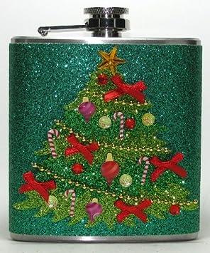 Weihnachtsbaum Fun.Weihnachtsbaum Mit Glitzer Edelstahl Flachmann 6 Unzen Flüssigkeit