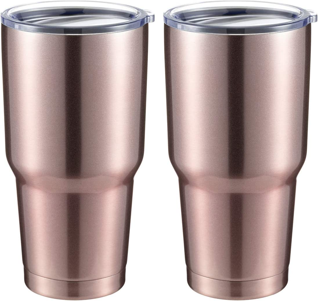 COMOOO 30oz Tumbler Stainless Steel Insulated Tumbler with Lid Double Wall Vacuum Coffee Cup Large Travel Mug for Home, Office, School,Party (Rose Gold, 2 Pack)