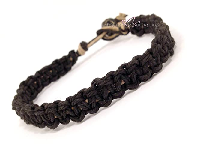 Amazoncom Thick mens bracelet hemp bracelet black bracelet