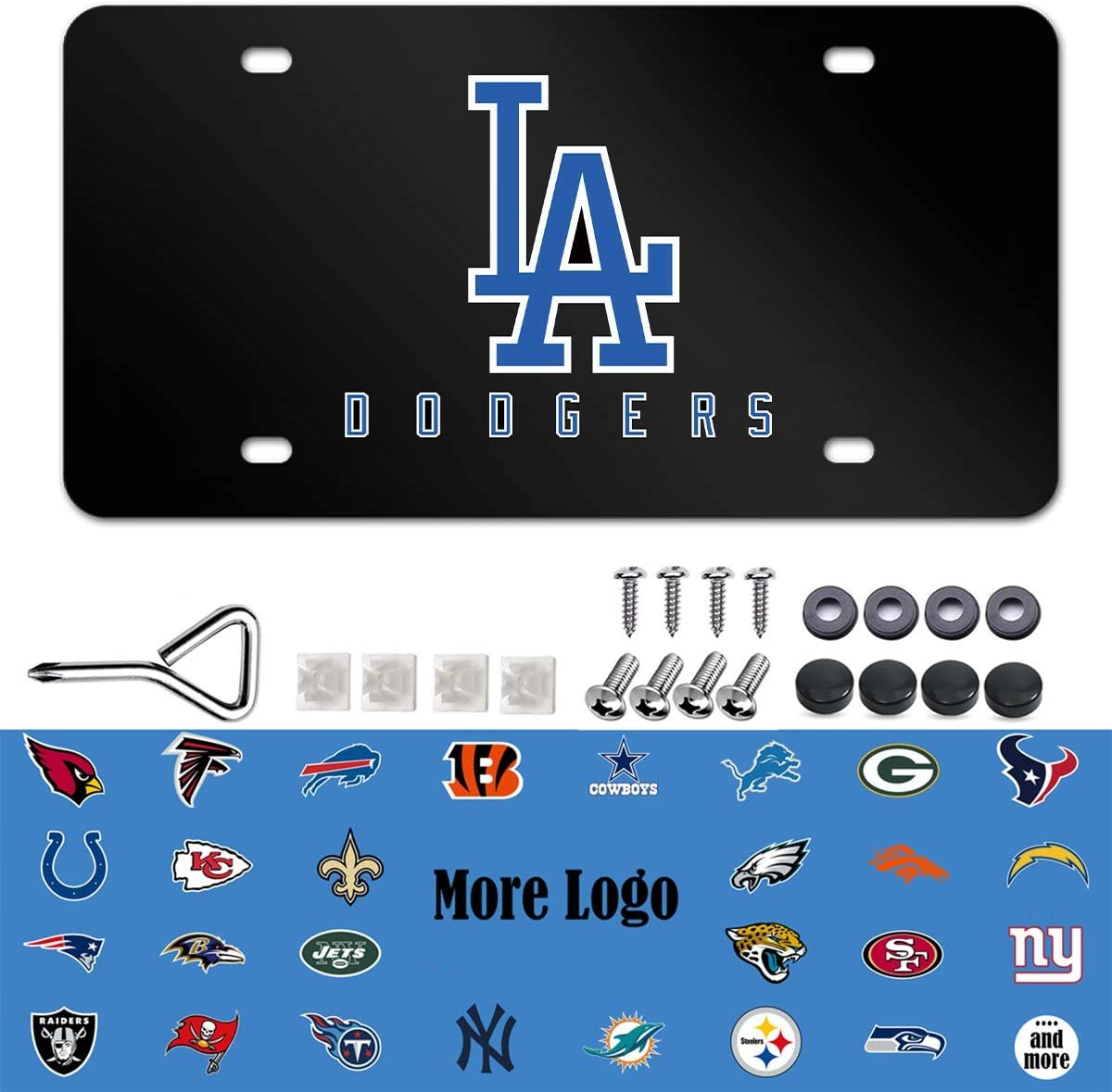 Kansas City Chiefs License Plate with Screw Caps Set Aluminum Black Front Car License Plate Cover Kansas City Chiefs Metal License Plate Tag Fit for Toyota BMW Buick Cadillac Ford Honda etc.