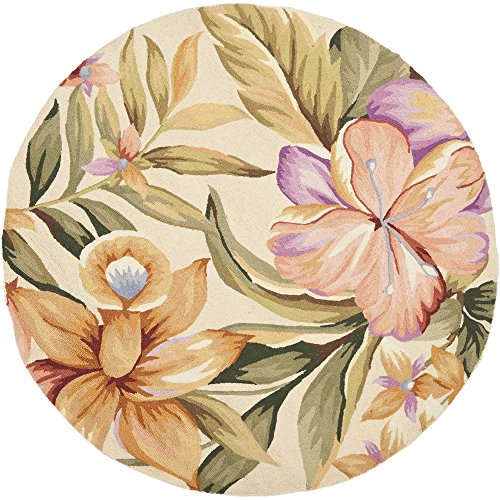 Wool Tropical Floral Area Rug - Safavieh Chelsea Collection HK212A Hand-Hooked Ivory Premium Wool Round Area Rug (5'6
