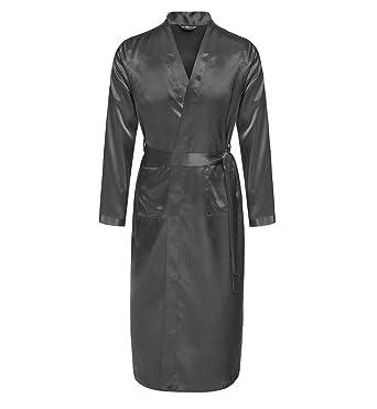 Surenow Man Night Satin Robe Pyjamas Room Bathrobe Men Robes Long Satin  Lightweight Sleepwear Gown ¡ 4d85c9156