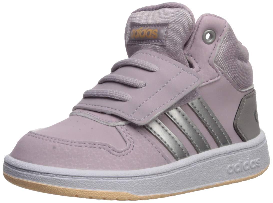 adidas Baby Hoops MID 2.0 I Sneaker, Mauve/Matte Silver/Light Granite, 7.5K Standard US Width US Infant by adidas