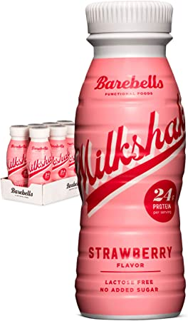 Batido Proteínas Barebells Sabor Fresa (8 Botellas x 330 ml), Alto Contenido de Proteínas. Sin Azúcares Añadidos y Sin Lactosa, 24 g de Proteínas. ...