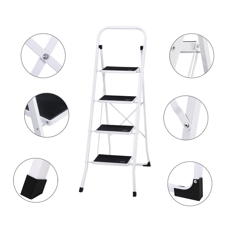 Fabulous Ollieroo Ladder En131 Steel Folding 4 Step Stool With Grip Handle Anti Slip Step Mon Marring Feet 330 Pound Capacity White Ncnpc Chair Design For Home Ncnpcorg