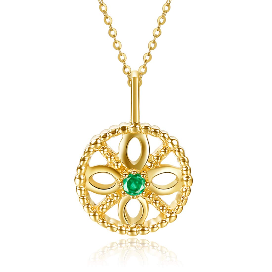 16 2 Extender Carleen 14k Solid Yellow Gold 0.02ct Natural Green Emerald Round Circle Flower Pendant Necklace For Women Girls
