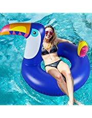 "WISHTIME Giant Inflatable Swimming Pool Float 47 ""Inches Unicorn Pool Float with Glitter Inside, Swim Innertube for Kids and Adults"
