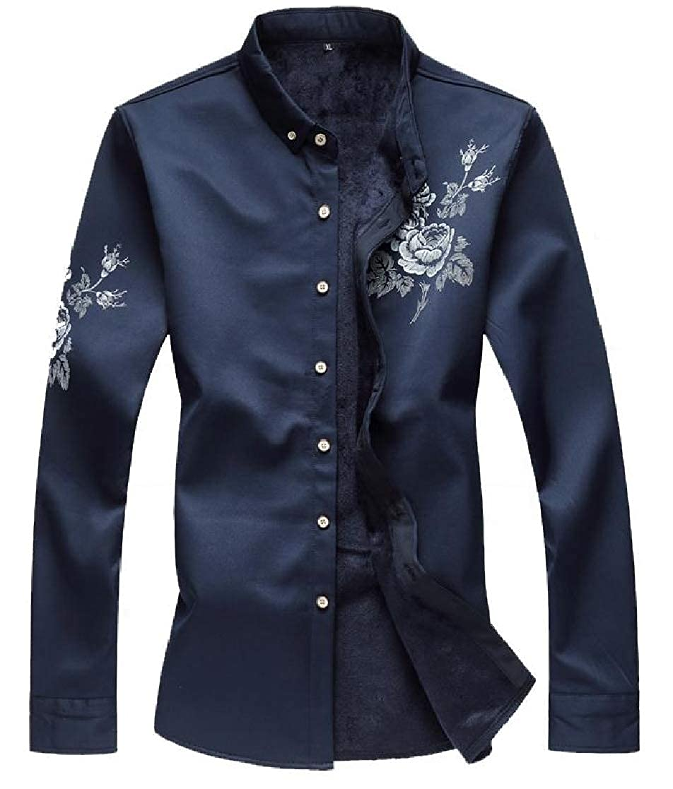 YUNY Mens Printed Plus-Size Long Sleeve Plus Velvet Thick Warm Fit Shirt Navy Blue 3XL