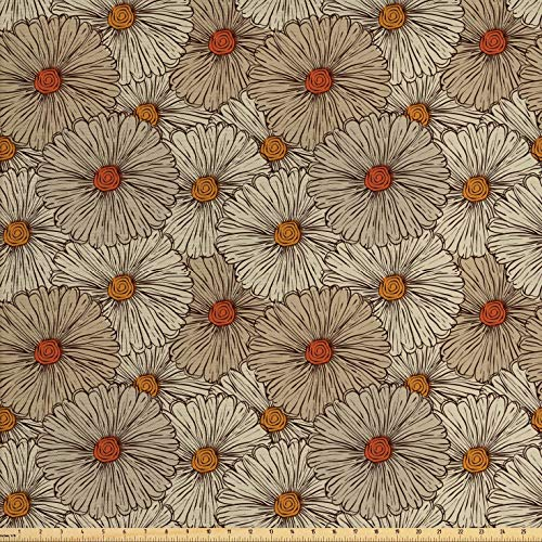 Ambesonne Vintage Fabric by The Yard, Sketch Art Style Gerbera Daisies Abstract Flowers Autumn Garden Flourish, Decorative Fabric for Upholstery and Home Accents, 3 Yards, Tan Orange Marigold