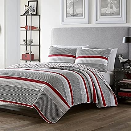 3 Piece Boys Full Queen Red Grey White Rugby Stripes Quilt Set, Striped  Horizontal Lines