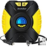 Tyre Inflator,Ansteker Portable 12V Air Compressor Car Tyre Pump with 3-Mode LED Light,Backlit Digital Pressure Gauge,Valve Adaptors for Car Bicycles Tires,Basketballs and Other Inflatables