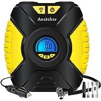 Ansteker Compresseur D'air Portatif 12V - Pompe de Gonflage Numérique avec Ecran LCD et 3-Mode Lampe LED Fusible Intégré Jaune