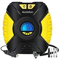 Tyre Inflator,Ansteker Portable 12V Air Compressor Car Tyre Pump with 3-Mode LED Light,Backlit Digital Pressure Gauge,Valve Adaptors for Car Bicycles Tires,Basketballs and Other Inflatables