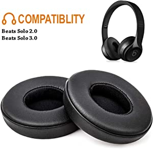 Beats Solo Replacement Ear Pads F FEYCH 2 Pieces Noise Isolation Memory Foam Ear Cushions Cover for Solo 2.0/3.0 Wireless Headphone(Black)
