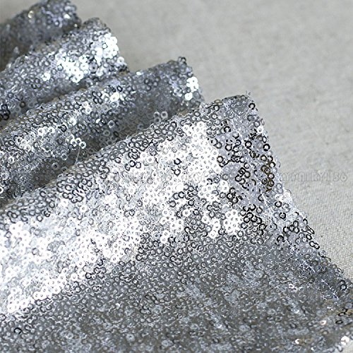 10 Pcs Silver Sequin Table Runners Sparkly Bling Wedding Party Decor 12''x118'' by Heaven Tvcz (Image #2)