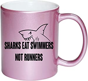 Shark Eat Swimmers Not Runners PINK 11 ounce Ceramic Coffee Mug Tea Cup by Moonlight Printing