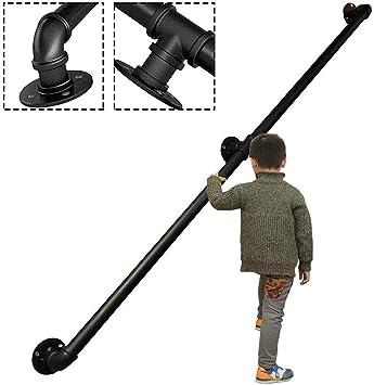 Dach Korridor Innen- und Au/ßen Schwarz Treppengel/änder Griffe Komplett-Set.Vintage Schmiedeeisen verzinktem Rohr Treppengel/änder 30-500cm Size : 30cm GJIF Handlauf