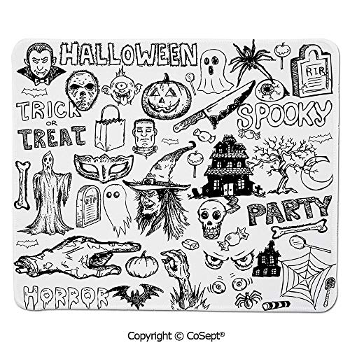 Non-Slip Rubber Base Mousepad,Hand Drawn Halloween Doodle Trick or Treat Knife Party Severed Hand Decorative,Dual Use Mouse pad for Office/Home (15.74