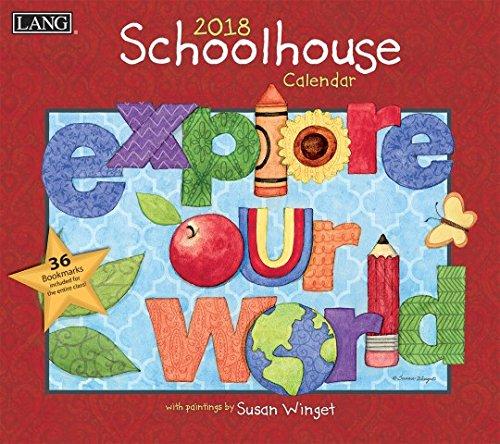 "LANG - 2018 Wall Calendar - ""Schoolhouse"", Artwork by Susan Winget - 12 Month - Open 13 3/8"" X 24"""