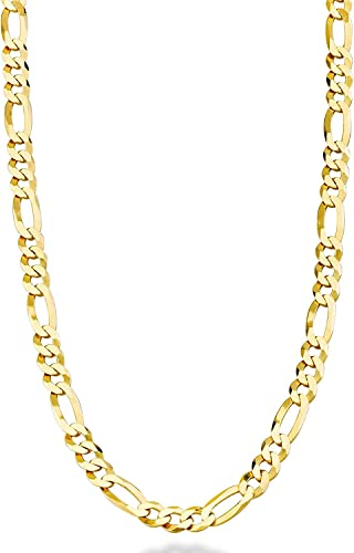 Dubai Collections 24k Figaro 5mm Gold Chain Necklace Jewelry Men Women Life Time Usa Made Gift 24 28 Inches 18 Amazon Com