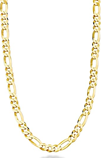 """3mm Figaro Italian 18K Pure Gold overlay Necklace choose Length 20,24,26,30/"""" 2"""