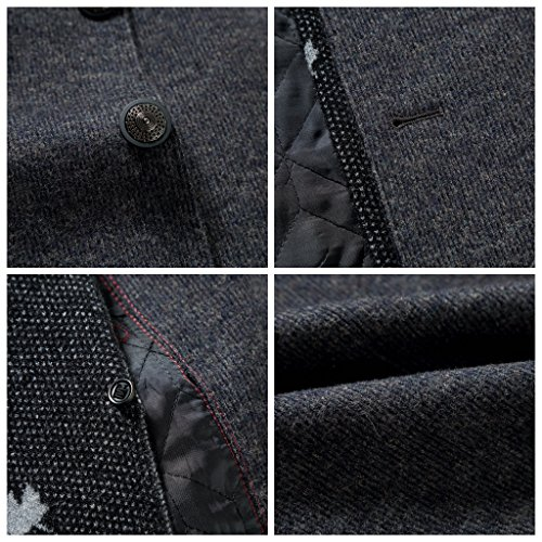 Men's Wool Long Trench Coat Winter Wool Blends Tweed Jackets Warm With Detachable Scarf (XL, 8729GREY) by SUNNY SHOP (Image #6)