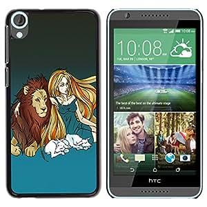 YiPhone /// Prima de resorte delgada de la cubierta del caso de Shell Armor - Lion & Blond Girl - HTC Desire 820