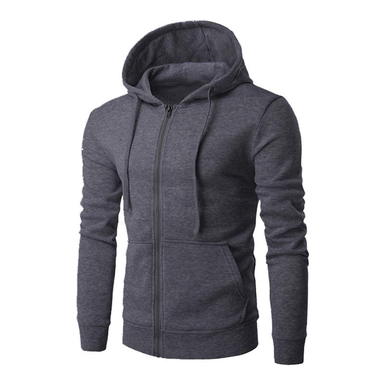 Men Hoodies Jacket Fleece Zipper Hooded Sweatshirt Pocket Slim Hip Hop Pullover