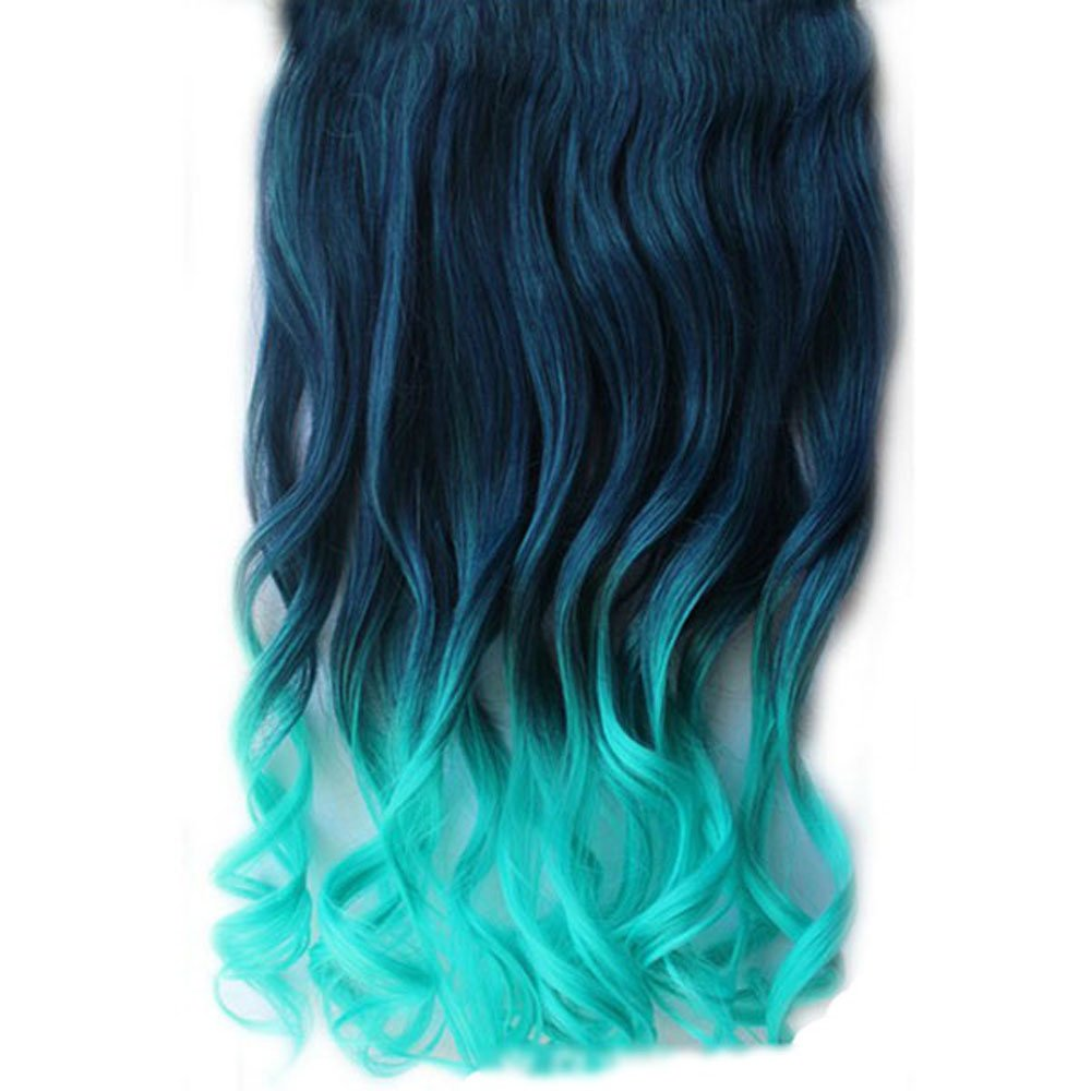 Amazon girls wave curly clip hair piece colorful gradient amazon girls wave curly clip hair piece colorful gradient ombre hairpieces extensions dark blue light blue beauty pmusecretfo Images