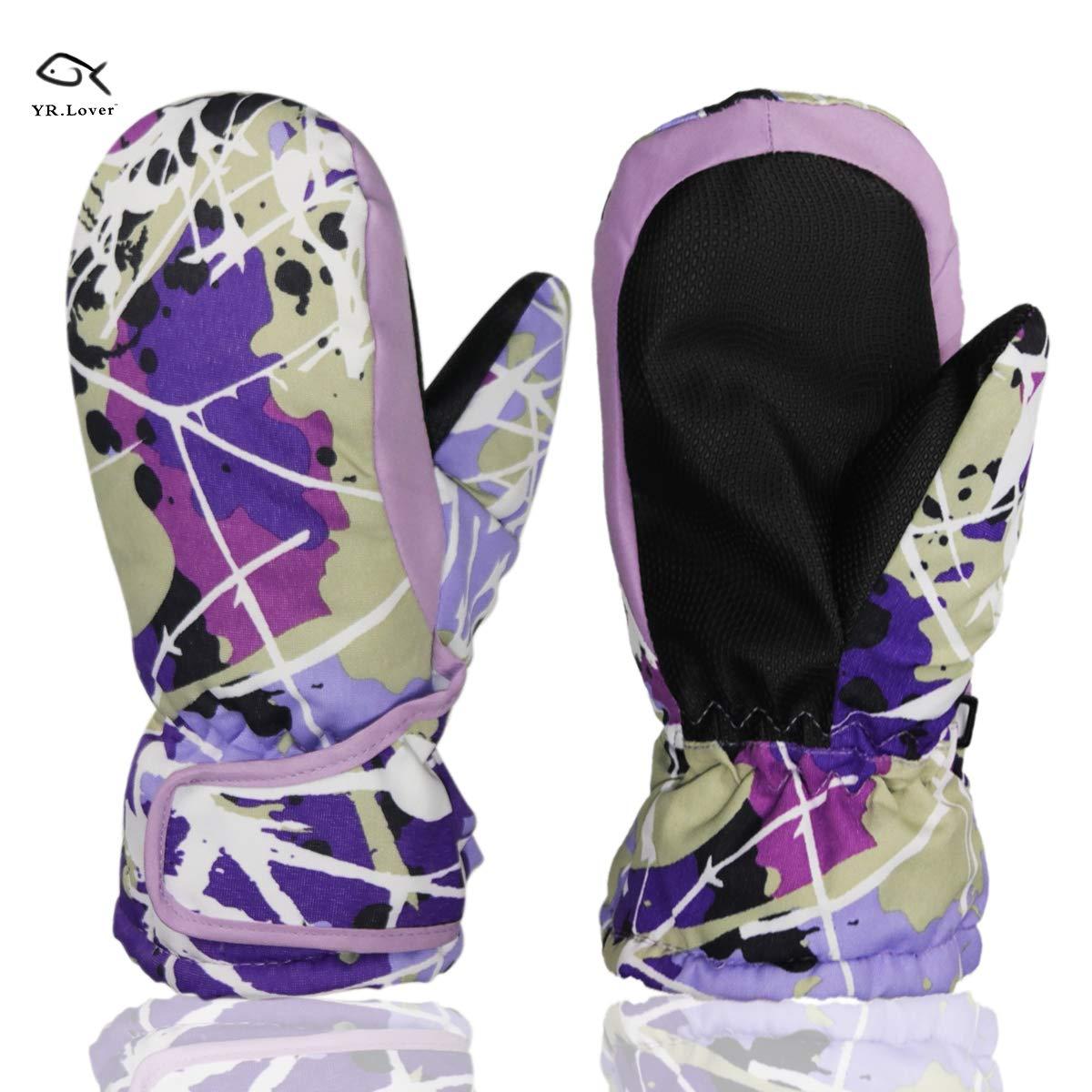YR.Lover Children Ski Gloves Winter Warm Outdoor Riding Thickening Gloves(2-4Years) YRKST01-Black