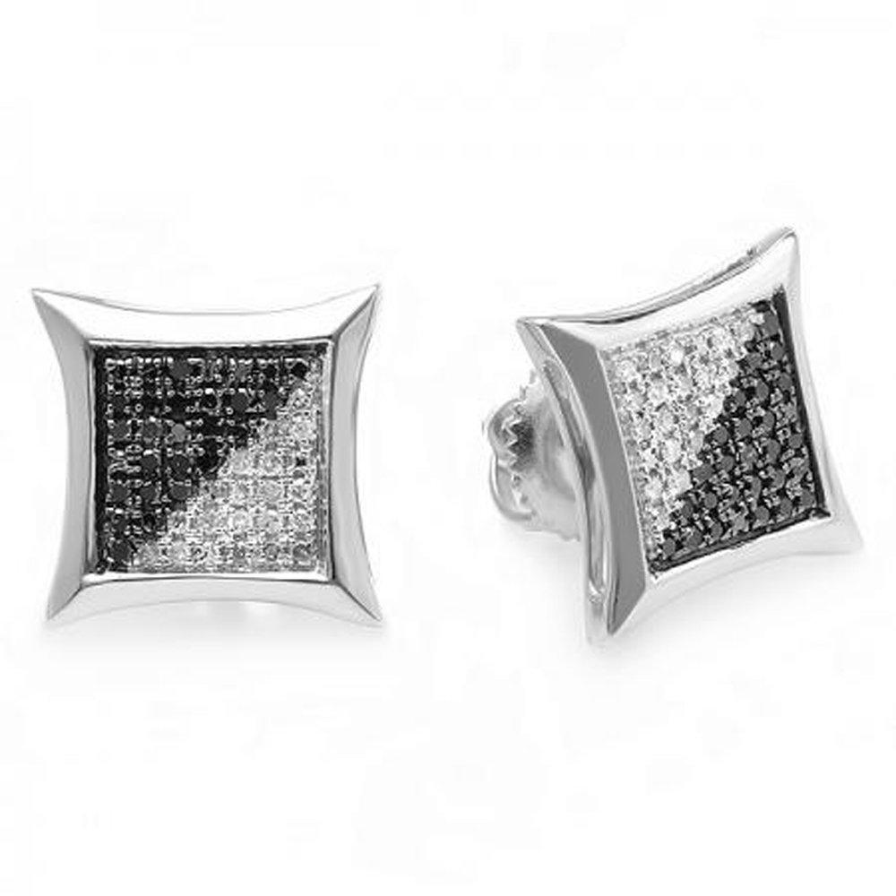 0.25 Carat (ctw) 10K White Gold Black & White Round Diamond Micro Pave Setting Kite Shape Stud Earrings 1/4 CT