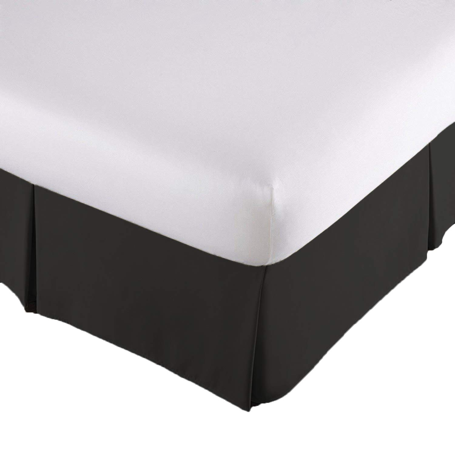 Lux Decor Collection Bed Skirt Hotel Quality (Queen, Black 14 inch Fall) - Iron Easy, Quadruple Pleated Quadruple Pleated, Wrinkle and Fade Resistant,100% (Queen, Black)