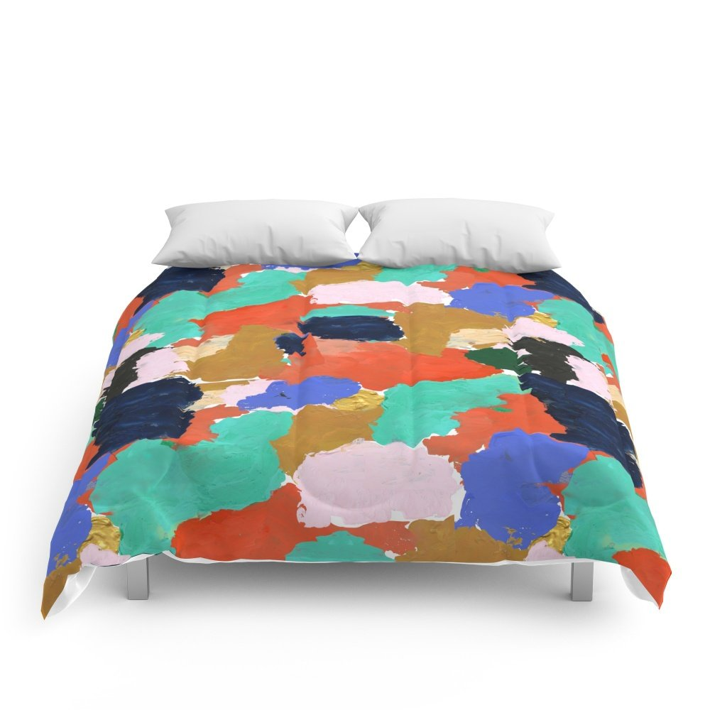 Society6 Kara - Paint Palette Abstract Minimal Modern Art Bright Colorful Boho Urban Painting College Dorm Comforters Queen: 88'' x 88''