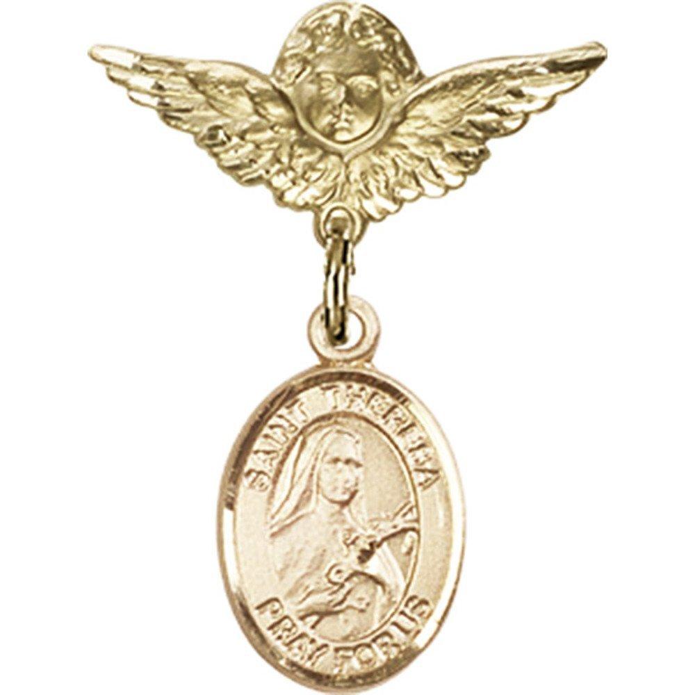ゴールドFilled Babyバッジwith St TheresaチャームとエンジェルW / Wingsバッジピン1 x 3 / 4インチ   B00XAU2BP4