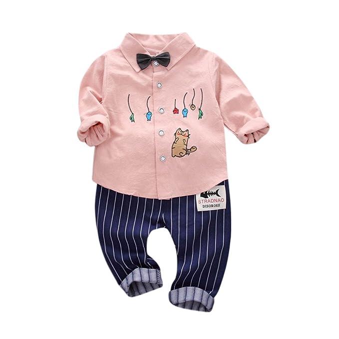 MYQyiyi Niño Primavera Conjunto de Guapo Caballero Camisa Impresa Patrones+Pantalón de Rayas (Rosa