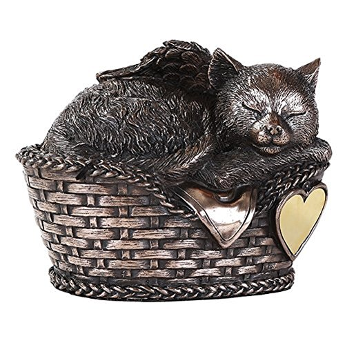 Windhaven Urns Pet Memorial Angel Cat Sleeping in Basket Cremation Urn Bronze Finish Bottom Load 30 Cubic Inch