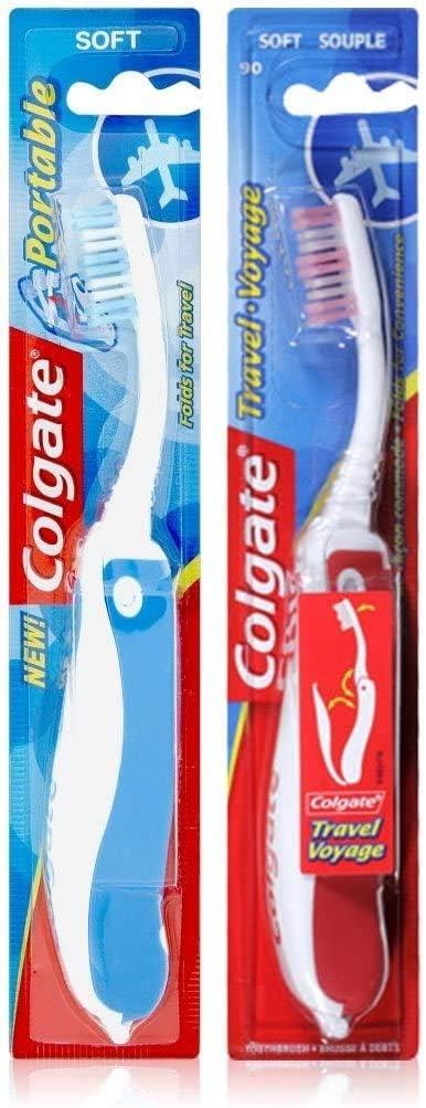 Colgate - Cepillo de dientes suave plegable, colores surtidos, 3 piezas